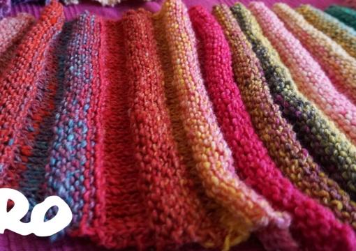 Bactus Shawl with yarn Noro