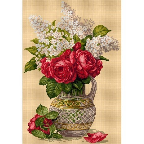 Vase with Roses and Lilac
