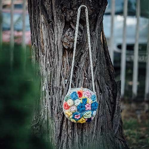 """Crochet round bag with long handle """"Flower Bouquet"""""""