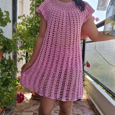 Детска рокля/туника на една кука от прежда Стенли Хавана