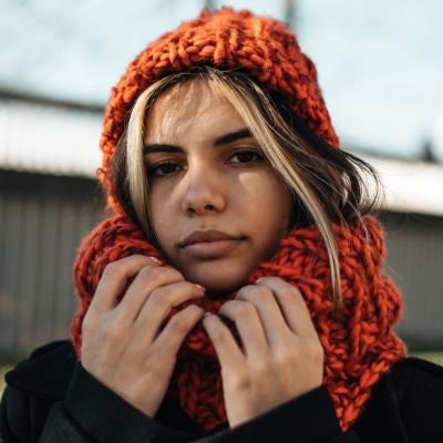 Комплект шал и шапка от прежда Стенли Ария